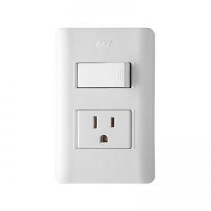 Interruptor Sencillo + Toma p/tierra 2p+t